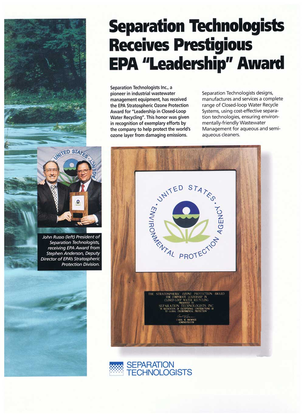 Separation Technologists, Inc. EPA Award